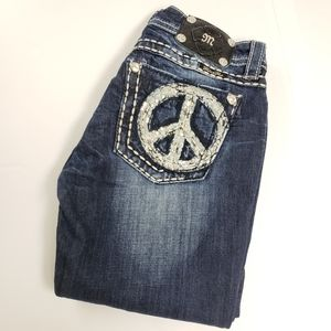 Miss Me | Peace Sign Boot Cut Jeans